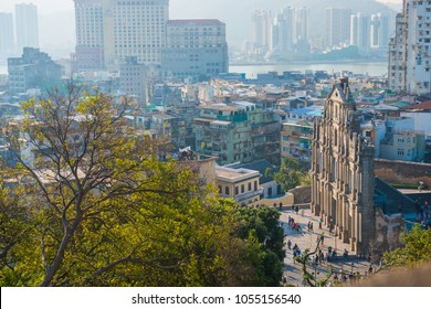 Macau - January 15, 2018 :Ruins facade of St.Paul's Cathedral in Macau, historic architecture as landmark of Macau