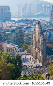 Macau - January 15, 2018 :Ruins facade of St.Paul's Cathedral in Macau, historic architecture as landmark of Macau