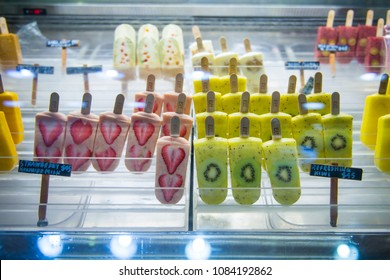 Macau - January 15,2018 :Kiwi and strawberry popsicles ice cream for sell in store in market, Macau, homemade ice cream