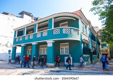 Macau - January 16, 2018 :Traditional old Portuguese house style in Macau, architecture