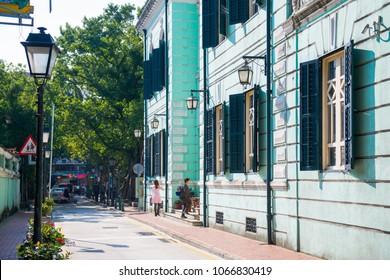 Macau - January 17, 2018 :The walkway street with old colonial-style building at Taipa Village, Macau