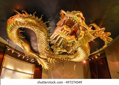 Macau - January 24, 2016: The Dragons Treasure media show featured in the City of Dreams Bubble Theater takes guests on a journey into a supernatural realm of the four Dragon Kings