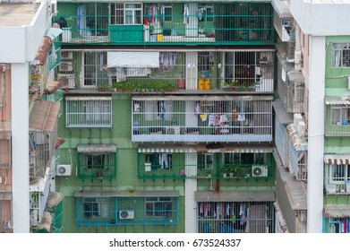 Macau - JULY 2, 2017: Residential building with cages showing overcrowded and poor problem in both Macau and Hong Kong