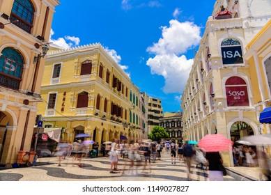 MACAU - JULY 21, 2018: Historic Centre of Macau-Senado Square in Macau, China. The Historic Centre of Macau was inscribed on the UNESCO World Heritage List in 2005.