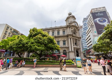 MACAU - JUNE 6, 2014: General Post Office, Macau. The Historic Centre of Macao was inscribed on the UNESCO World Heritage List in 2005.