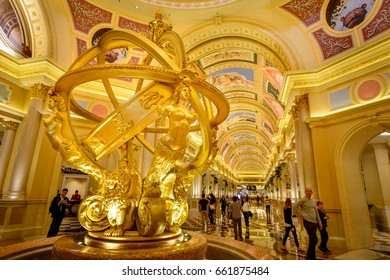 MACAU, (MACAO), DECEMBER 20, 2016:  golden Interior of the Venetian Resort Hotel and Casino at the entrance in Macau