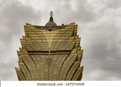 Macau (Macao SAR) / China - July 26, 2015: Grand Lisboa, 261-metre-tall hotel and casino in Se, Macau, China. It is the most iconic symbol of Macao.