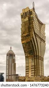Macau (Macao SAR) / China - July 26, 2015: Grand Lisboa, 261-metre-tall hotel and casino in Se, Macau, China.