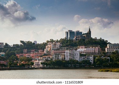 Macau, Macao Special Administrative Region of the People's Republic of China - June 2, 2018 : Sal van lake with the Chapel of our Lady of Penha
