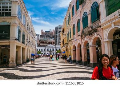 Macau, Macao Special Administrative Region of the People's Republic of China - June 2, 2018 : Largo de Senado (Senado Square), popular tourist attraction.