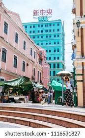 Macau, Macao Special Administrative Region of the People's Republic of China - June 2, 2018 : Largo de Senado (Senado Square), popular tourist attraction, markets.
