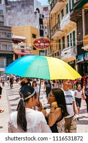 Macau, Macao Special Administrative Region of the People's Republic of China - June 2, 2018 : Senado Square, a popular tourist destination