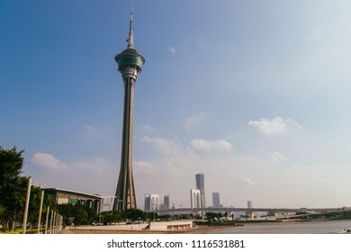 Macau, Macao Special Administrative Region of the People's Republic of China - June 2, 2018 : Macau Tower, Convention and Entertainment Center