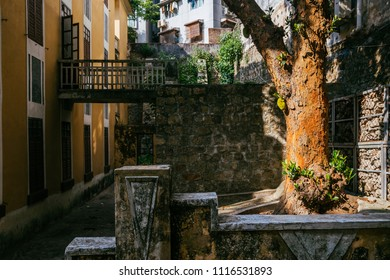 Macau, Macao Special Administrative Region of the People's Republic of China - June 2, 2018 : R. do Lilau, street of inner Macau