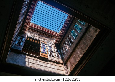 Macau, Macao Special Administrative Region of the People's Republic of China - June 2, 2018 : Inside Lou Kau Mansion,historical house in Sé, Macau, China
