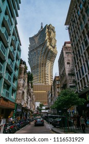 Macau, Macao Special Administrative Region of the People's Republic of China - June 2, 2018 : Grand Lisboa Casino, viewed from the street.