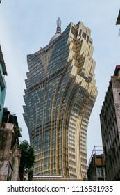 Macau, Macao Special Administrative Region of the People's Republic of China - June 2, 2018 : Grand Lisboa Casino