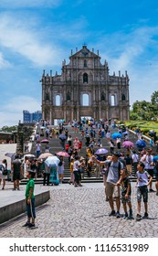 Macau, Macao Special Administrative Region of the People's Republic of China - June 2, 2018 : Ruins of St. Pauls, iconic Church facade and religious museum