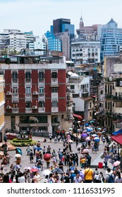 Macau, Macao Special Administrative Region of the People's Republic of China - June 2, 2018 : View from the top, Ruins of St. Pauls, iconic Church facade and religious museum