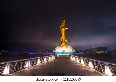 MACAU - MARCH 07 :  The Guan Yin statue in Macau on March 07 2018. Guan Yin known as the Goddess of Mercy in Taoism.