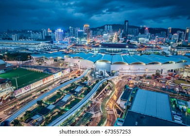 Macau - MARCH 13, 2017: Night view of the Macau and China Border under rainstorm