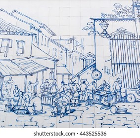 Macau - March 14, 2016 : Street Restaurant Outside S. Domingos was drew on ceramic wall by George Chinnery in 1840 - Wall art around Cathedral a part of Historic Center in Macau