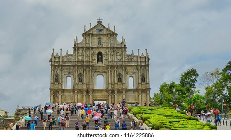 Macau - May 4th 2018: Steps leading to the Ruins of St. Paul Cathedral in Macau.