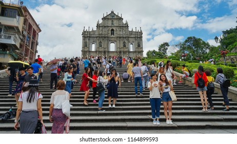 Macau - May 4th 2018: Steps leading to Ruins of St. Paul cathedral in Macau.