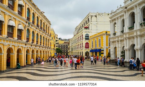 Macau - May 4th 2018: A walk from Senado Square to Ruin of St. Paul Cathedral in Macau