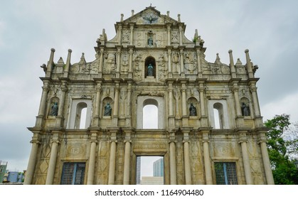 Macau - May 5th 2018: The famous Ruins of St. Paul cathedral in Macau.
