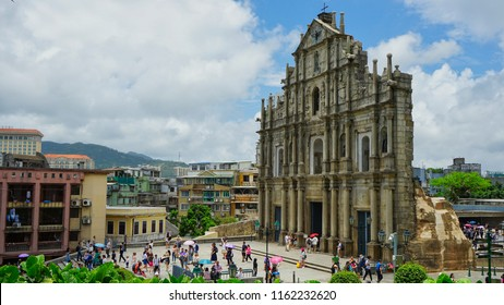 Macau - May 5th 2018: A side view of the famous Ruins of St. Paul.
