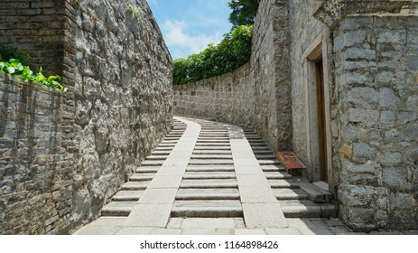 Macau - May 5th 2018: Steps leading to the top of the Fort Monte in Macau