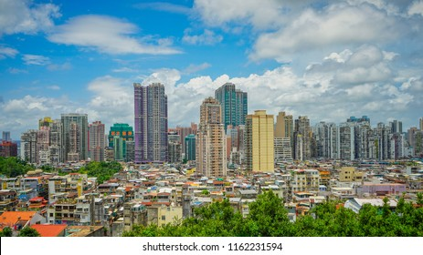 Macau - May 5th 2018: A view from 17th century Monte fort overlooking the Macau city skyline.