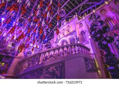 MACAU - NOVEMBER 19, 2012: The Christmas decorated lobby of the Wynn Casino in Macau