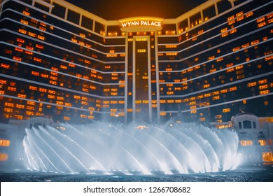 Macau: November 2018: Beautiful view of Wynn Palace Hotel and the water show at night.