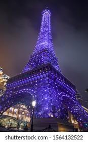 Macau: November 2018: Beautiful view of the Macau Eiffel Tower at night.