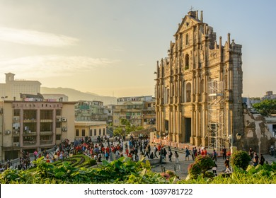 Macau - November 27, 2017: The main sight of Macau - Ruins of Saint Paul's Church