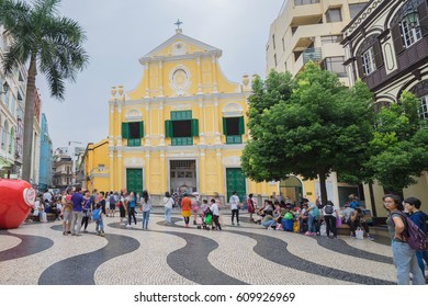 Macau - November 8, 2016: St. Dominic's Yellow Church.The construction of the church was finished in 1587. The church is the oldest in Macau.