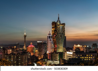 Macau - October 2016 - The sight from Guia Lighthouse, Macau has a nice skyline, the golden building is one of the famous casino in Macau.