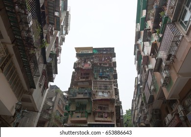 MACAU - OCTOBER 5, 2010: Typical old style blocks of apartments.