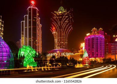 MACAU – OCTOBER,26: night view of the Grand Lisboa, hotel and casino, is seen on October 26,2012 in Macau, China. Macau is the gambling center of Asia and one of the world's top gambling destinations.