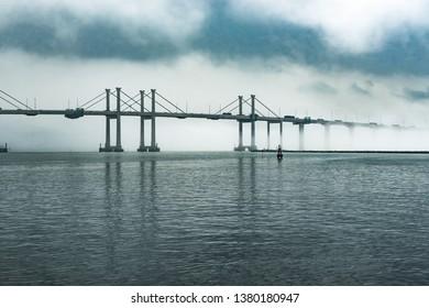 Macau sai wan bridge during a storm