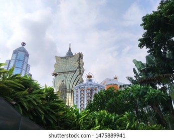 Macau / Macau SAR - August 11 2019 - a different view of hotel Lisboa and grand Lisboa along with Bank of china building