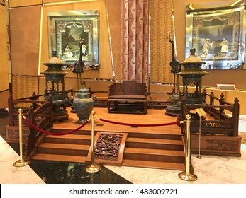 MACAU - SEP 2017: Qianqjin and Tianqi 'Dragon' imperial throne dated late Kangxi period (1662-1722). It is from the Arthur M. Sackler collection and was purchased at the Christie's Auction in 2007.