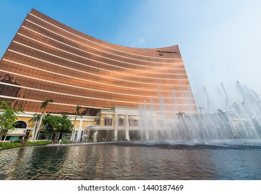 MACAU - SEPT 2017: The facade of Wynn Macau, a luxury resort owned by Wynn Resorts. In 2009 Wynn Macau became one of only five hotels in Asia to receive the Forbes Five Star award.