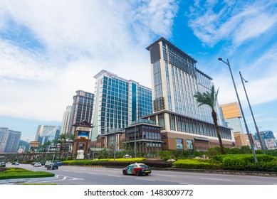 MACAU - SEPT 2017: High rise buildings in the city center. Macau is a resort city in Southern China, known for its casinos and luxury hotels. Its gaming revenue has been the worlds largest since 2006