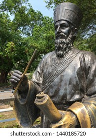 MACAU - SEPT 2017: Matteo Ricci's sculpture portrait in the park of Monte Fort. Matteo Ricci (1552 – 1610), was an Italian Jesuit priest and one of the founding figures of the Jesuit China missions.