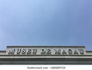 MACAU - SEPT 2017: The signboard of the Macau Museum located on the hill of the Fortaleza do Monte. The museum presents the history of the city and territory of the former Portuguese colony of Macau