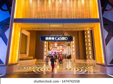 MACAU - SEPTEMBER 15, 2017: The gaming hall entrance of Parisian casino. Macau's gaming revenue has been the worlds largest since 2006 with the economy heavily dependent on gaming and tourism.