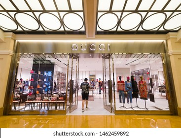 MACAU - SEPTEMBER 15, 2017: Gucci store at Studio City hotel and casino resort. Gucci is an Italian luxury brand of fashion and leather goods, part of the Gucci Group.